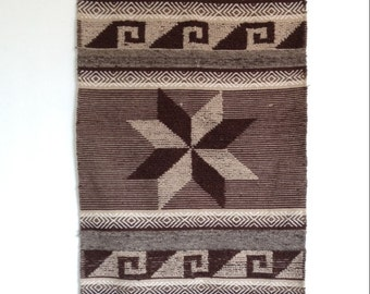 Vintage Woven Rug, Woven Wool,  Handmade Woven Wall Hanging,
