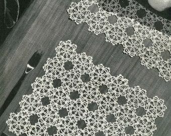 Vintage Tatting, Pattern for Motif and Edging, Tatting Pattern, 1960 (PDF) Pattern, Coats 555