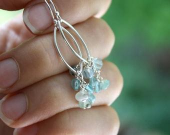 Blue Apatite Earrings . Blue Gemstone Earrings . Marquise Earrings . Chandelier Earrings Silver - Acai Palm Collection