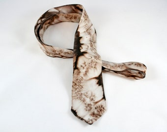 Hand painted silk tie in brown and beige