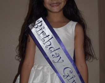 Purple Birthday Girl Satin sash