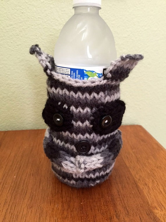 Raccoon Bottle Cozy, Beer Cozy, Gift for Men, Knitted, Sports Drink, Teachers, Boyfriend Gift, Father's Day Gift, Reusable, Girl Friend,