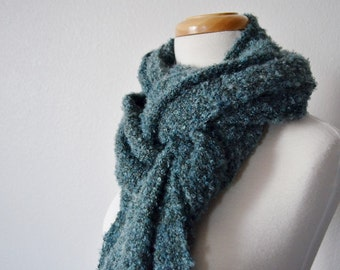 Handwoven Boucle Fringed Scarf - Extra Long Handwoven Scarf in Duck Egg Blue - Textured, Boho, Fall Fashion, Extra Big Scarves, Women's