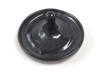 DARK blue ring holder- trinket dish- gift- in stock- handmade jewelry holder JR7
