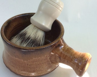apothecary shaving mug - nutmeg brown - shaving bowl-  pottery- ceramic - handmade - in stock-