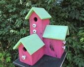 Primitive Country Condo Birdhouse pink Three Nesting Boxes