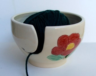 ceramic Yarn Bowl,  Knitting Bowl, Yarn Holder, Crochet Bowl, Camelia
