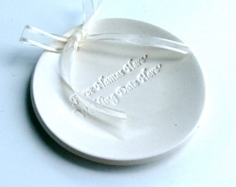 Design Your Own Wedding Porcelain Ring Bearer Pillow, Personalized Ceramic wedding ring dish