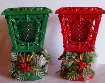 Pair of Vintage Christmas Candle Lamplighters Hobnail Votive Holders