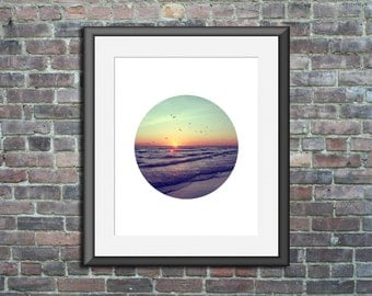 Circle Print Circle Photo sunset art siesta key sunset photography circle artwork beach artwork circle wall print beach house decor