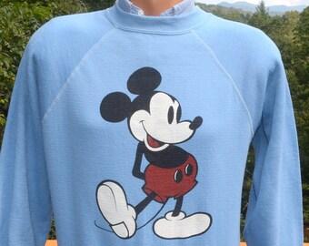 vintage 80s sweatshirt disney MICKEY MOUSE sweater raglan crewneck Medium Small light blue