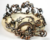 Handcrafted Copper Chain Bracelet, Mixed Metal Bracelet, Forged Copper Jewelry, Copper and Sterling Silver, Rustic, Womens- Wild and Twisted