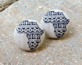 Abyssinia (In Medium) ~~ African Print Fabric Button Earrings. MEDIUM. 1 1/8 Inches. Tarnish Free. Lead Free. Nickel Free