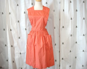 Vintage Coral Jumper Dress with Pockets, Size Medium, Candy Striper Jumper