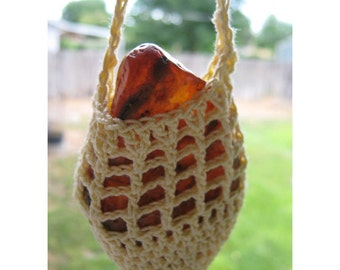 Crocheted Amulet SWING - Pendulum Rough Fire Agate - Crocheted Cradled RAW Fire Agate