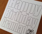 Colour-In Birthday Card for Relatives from Children - Choose Any Title/Name