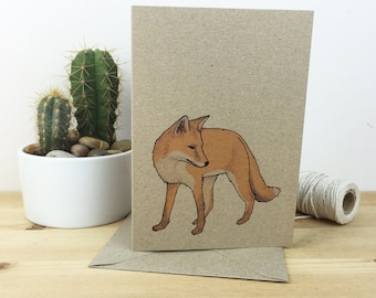Fox card - wildlife / nature / animal illustrated card - recycled / eco friendly