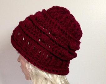 Hand Crochet Hat, Slouchy Beanie, Women's Hat, Winter Hat, Vegan Hat - Fall accessories