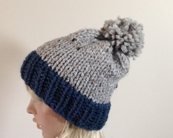 Knit Hat - Slouchy Hat - Pom Pom Hat - Chunky Hat - Bobble Beanie Two Tone Denim and Gray Marble - The Bristol hat