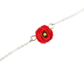 Poppy Sterling Silver Anklet or Bracelet - Poppy Ankle Bracelet Jewelry