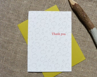 Letterpress Greeting Card - Thank You Card - Tomato Illustration Pattern - EGI-362