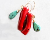 Coral Turquoise Earrings Boho Southwest Style Wire Wrapped 14k Gold Filled Metaphysical Healing Stones
