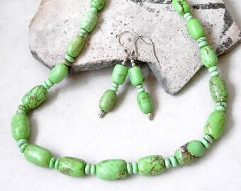 Green Magnesite Jewelry Set Southwest Boho Jewelry Necklace Earrings Metaphysical Healing Stone