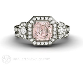 Asscher Morganite Wedding Set Engagement Ring Diamond Halo Morganite Ring 3 Stone Bridal