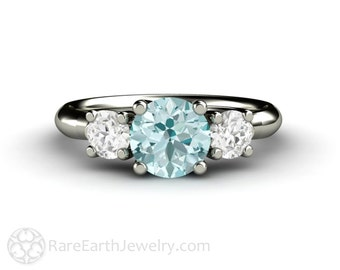Aquamarine Ring Aquamarine Engagement Ring 3 Stone Woven Prong White Sapphires March Birthstone