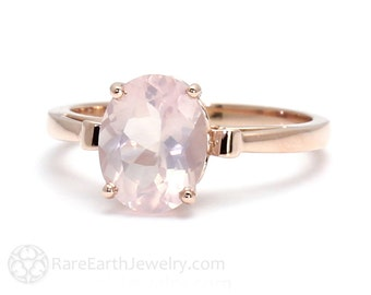 Rose Gold Ring Rose Quartz Ring Fleur de Lis Ring 14K or 18K Gold Pale Pink Ring Gemstone