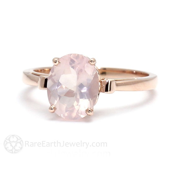 Rose Gold Ring Rose Quartz Ring Fleur de Lis Ring 14K or 18K Gold Pale Pink Ring Gemstone