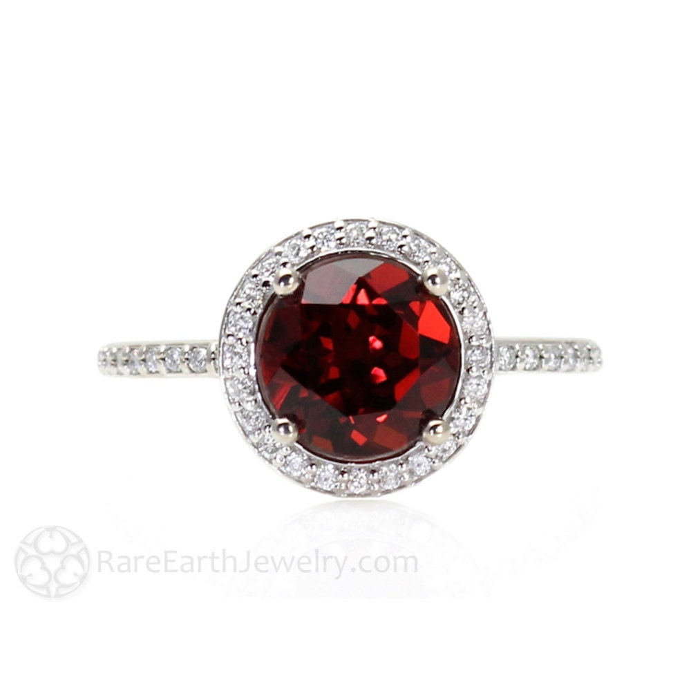 red garnet ring diamond halo engagement ring january. Black Bedroom Furniture Sets. Home Design Ideas