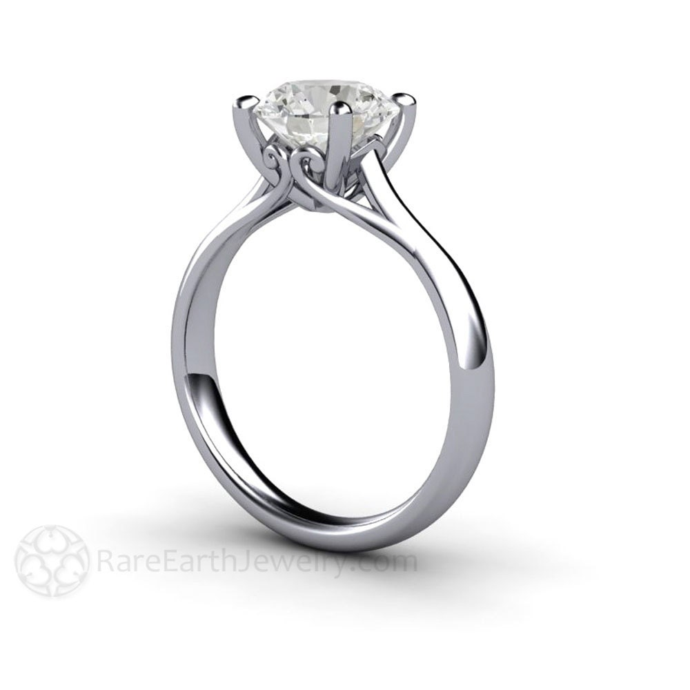 2ct solitaire engagement ring white sapphire ring
