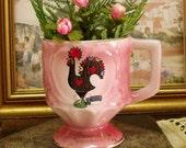 Vintage Portuguese rooster Pink ceramic mug cup