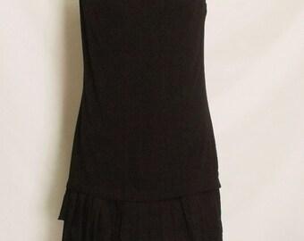 30% OFF Vintage black pleated summer dress Small France