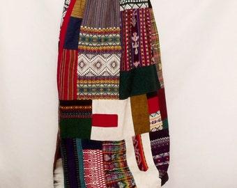 30% OFF Vintage quilt folk long skirt woven rustic