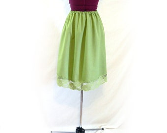 Vintage Half Slip, or Skirt, Homemade, Wide Lace Hem, Avocado Green, Funky Pixie Skirt, Unique, Grunge, Elastic Waist, Raggamuffin, 80s, 90s
