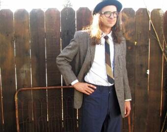 50s Vintage Jacket Fleck Tweed Union Made Vintage Wool Brown fleck jacket black and tan tweed 50s vintage jacket 1950s coat M 40