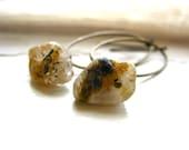 Rutilated Quartz Earrings, Rutilated Quartz Antiqued Brass Chandelier Hoop Dangle Drop Earrings, Handmade Artisan Earrings