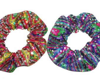 Psychedelic Metallic Sequin Dots Hair Scrunchie Rainbow Colors Ties Ponytail Holders Scrunchies by Sherry