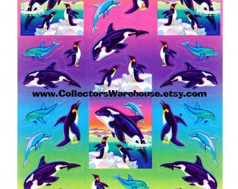 Lisa Frank Max Splash the Killer Whale Sticker Sheet S269 vintage dolphins penguins