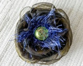 Dark Olive Green Fabric and Fiber Flower Pin - Olive and Cobalt Flower Brooch with Czech Glass Button Center
