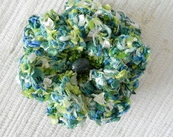 Apple Green and Teal Blue Crochet Flower Pin - Turquoise, Tea Blue and Green Flower Brooch