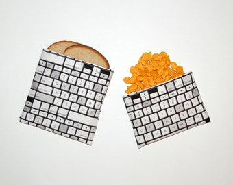 Computer Keyboard - Eco Friendly Reusable Sandwich and Snack Bag Set