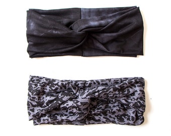 Turban Headband // Grey Black Burnout Leopard // Grey Black Tie Dye