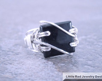 Sterling Silver Wire Wrapped Black Onyx Ring