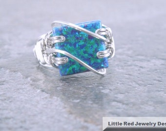 Sterling Silver White Man-Made Black Opal Square Cabochon Ring