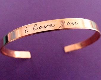 I love you Cuff Bracelet - Copper Cuff - Personalized Cuff Bracelet - Thin Custom Cuff - 1/5 inch