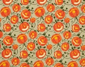 SALE Happy Halloween fabric by David Walker Fabric Shoppe Fabrics- Halloween Pumpkin Patch in Green, You Choose the Cut