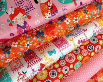 Cherry Blossom Garden Pink fabric bundle by Robert Kaufman Fabrics- Bundle of 6 fabrics. You Choose the Cuts. Free Shipping Available